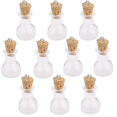 10 stk glaskorken flaschen gl ser fl schchen wunsch flaschen anh nger mit flache kolbenform - Glaser dekorieren mit sand ...