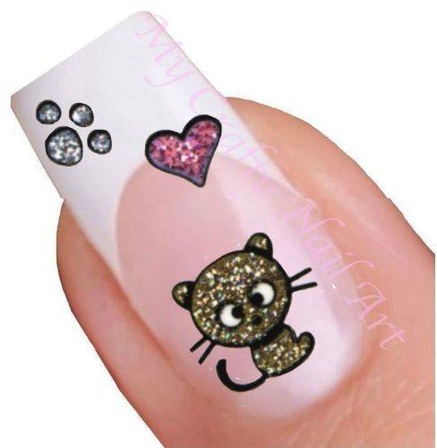 nailart sticker teddyb r pink gold glitzer selbstklebend sch ne schmucksachen. Black Bedroom Furniture Sets. Home Design Ideas