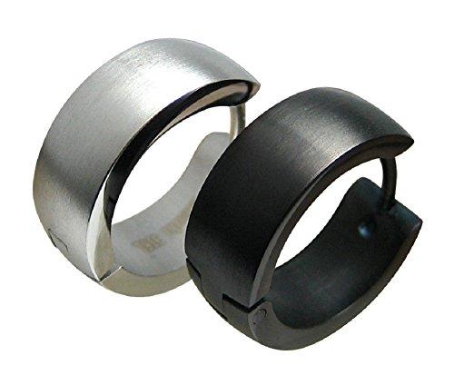 7mm breit 2 st ck 1 paar breite schwarze edelstahl creolen ohrringe klapp creolen f r damen. Black Bedroom Furniture Sets. Home Design Ideas