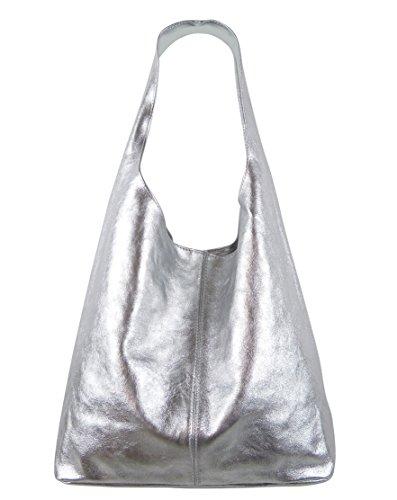 a5ddc5be24651 Freyday Damen Ledertasche Shopper Wildleder Handtasche Schultertasche  Beuteltasche Metallic look Silber Metallic