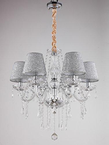 Deckenlampe Kronleuchter Höhenverstellbare Deckenleuchten Aufhängbarer  Tenlion LED Kronleuchter Deckenleuchten Mit 6 Kristallleuchten Leuchte FüR  Das ...