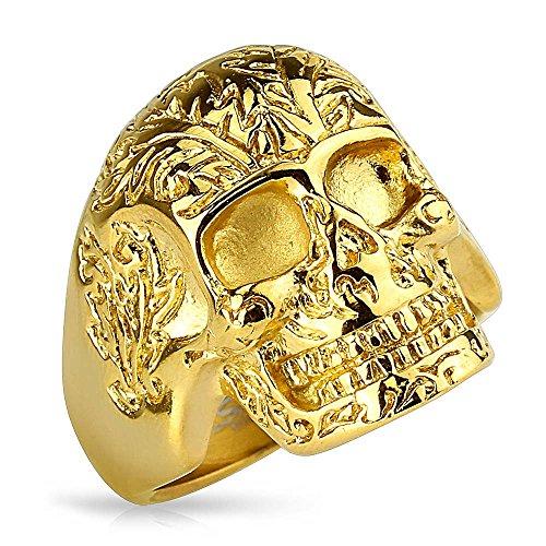 Original Biker Ring Schädel 24 Karat Vergoldet Rocker Gothic Skull Edelstahl Gold Gothik Perfekte Verarbeitung Uhren & Schmuck Ringe