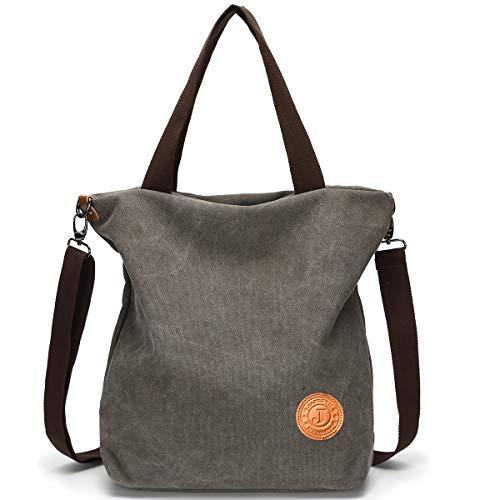 58cd993a00ef1 JANSBEN Damen Canvas Handtasche Schultertasche Casual Multifunktionale  Umhängetaschen Groß für Arbeit Schule Shopper Lässige täglich Grau