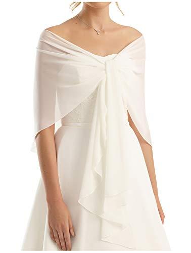 88129f835713b4 Abendkleid Hochzeit Abend Gala - Länge 245cm - RUTSCHT NICHT - Chiffon Stola  Chiffonschal perfekt zu jedem Brautkleid - WEIß- CREME Ivory- SCHWARZ- ...