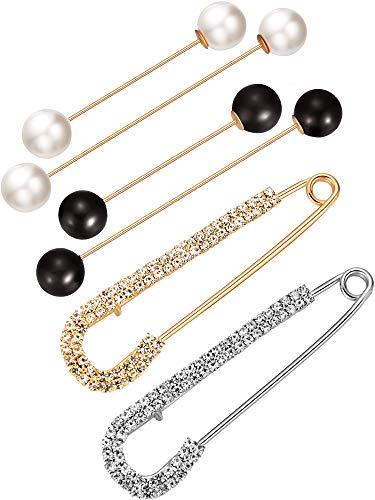 Brosche Anstecknadel NEU Gold Hutnadel 2 Perlen Kragennadel Damen